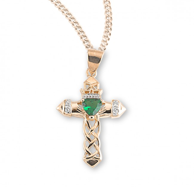 1 gold over sterling silver cross pendant with emerald zircon 18 1 gold over sterling silver cross pendant with emerald zircon 18 chain aloadofball Gallery