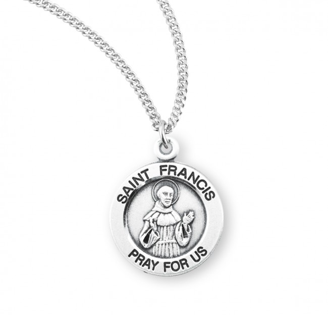 49383d02751 Saint Francis of Assisi Round Sterling Silver Medal - Saint Francis ...
