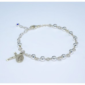 High Polished Round Sterling Silver Rosary Bracelet 5mm