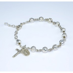 Diamond Cut Sterling Silver Rosary Bracelet 5mm
