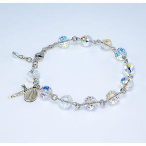 Swarovski Crystal  Aurora Multi-Faceted Sterling Silver Rosary Bracelet 8mm