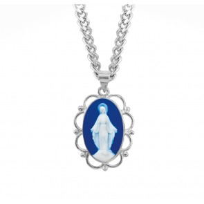 Dark Blue Sterling Silver Cameo Miraculous Medal