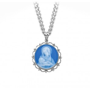 Light Blue Sterling Silver Madonna and Child Cameo Miraculous Medal