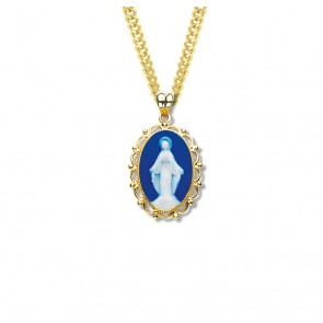 Dark Blue Gold Over Sterling Silver Cameo Miraculous Medal