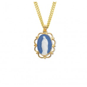Dark Blue Gold Over Sterling Silver Our Lady of Guadalupe Cameo Medal