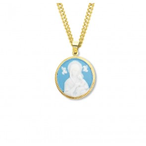 Light Blue Gold Over Sterling Silver Our Lady of Perpetual Help Cameo Medal
