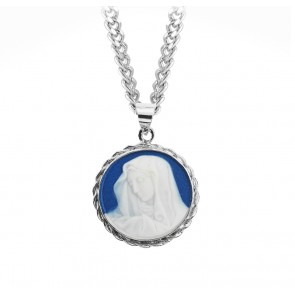 Dark Blue Sterling Silver Our Lady of Sorrows Cameo Medal