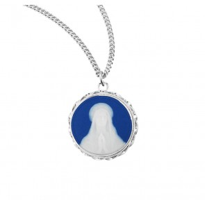 Blue Our Lady of Lourdes Cameo Medal