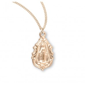 Gold Over Sterling Silver Fancy Baroque Miraculous Medal