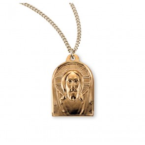 Gold Over Sterling Silver Medal of Christ
