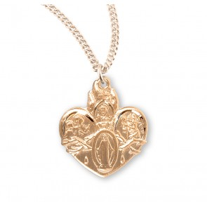 Gold Over Sterling Silver Heart Shape 4-Way Medal