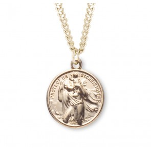 Saint Christopher Double Sided Gold Over Sterling Silver Medal