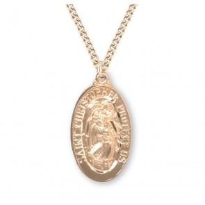 Saint Christopher Oval Gold Over Sterling Silver Medal