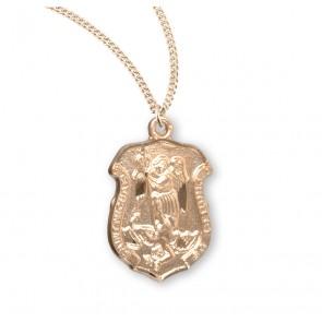 Saint Michael Gold Over Sterling Silver Badge Medal