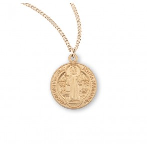 Saint Benedict Round Gold Over Sterling Silver Medal