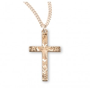Gold Over Sterling Silver Flower Tipped Cross