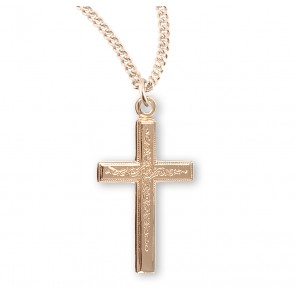 Gold Over Sterling Silver Vine Pattern Cross
