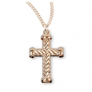 Gold Over Sterling Silver Twist Design Cross