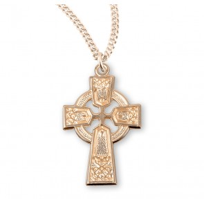 Gold Over Sterling Silver Irish Celtic cross Pendant