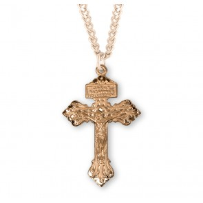 "Gold Over Sterling Silver ""Pardon"" Crucifix"