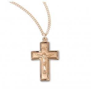 Gold Over Sterling Silver Wide Crucifix