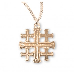 Gold Over Sterling Silver Jerusalem Cross with
