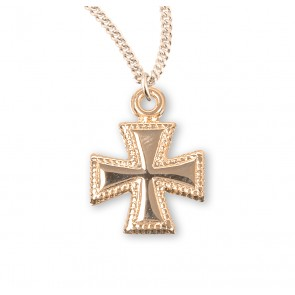 Gold Over Sterling Silver Beaded Cross
