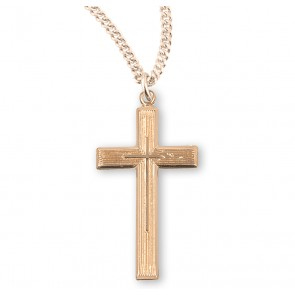 Gold Over Sterling Silver Cross with a High Polished Inlayed Cross