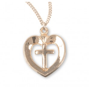 Gold Over Sterling Silver Heart with Cross