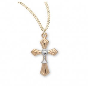 Tutone Gold Over Sterling Silver Cross with Chalice