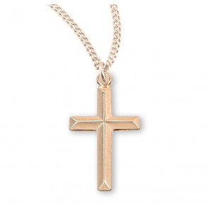 Gold Over Sterling Silver Angle Edged Cross