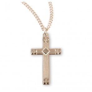 Gold Over Sterling Silver Engraved Cross