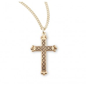 Gold Over Sterling Silver Cross with Black Enamel Design