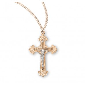 Fancy Engraved Gold Over Sterling Silver Two Toned  Crucifix
