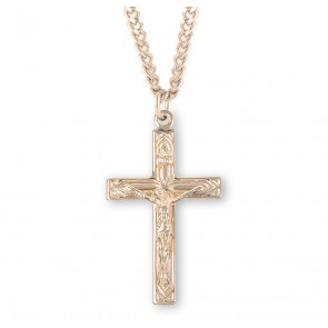 Art Deco Style Gold Over Sterling Silver High Polished Crucifix