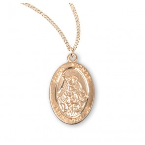 Patron Saint Michael Oval Gold Over Sterling Silver Medal
