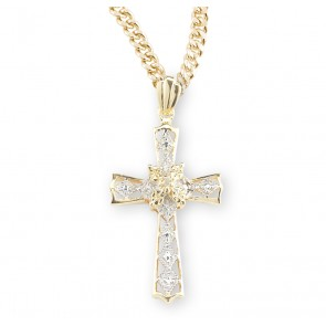 Gold Over Sterling Silver Crystal Cubic Zirconia Cross Pendant