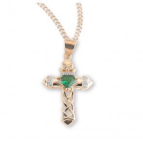 Gold Over Sterling Silver Cross Pendant with Emerald Zircon
