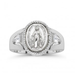 Sterling Silver Miraculous Medal Ring with Two Crystal Cubic Zircon Size 5