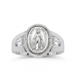 Sterling Silver Miraculous Medal Ring with Two Crystal Cubic Zircon Size 7