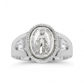 Sterling Silver Miraculous Medal Ring with Two Crystal Cubic Zircon Size 8