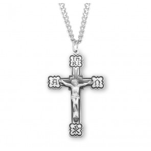 Sterling Silver Alpha & Omega Enameled Crucifix