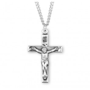 "1 1/8"" Sterling Silver Crucifix with 20"" Chain"