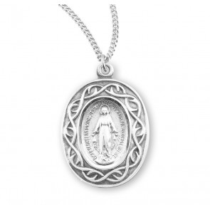 """Miraculous Medal Oval Sterling Silver """"Crown of Thorns"""" Medal"""