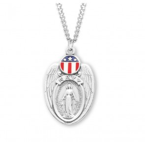 Navy Sterling Silver Enameled Miraculous Medal