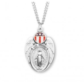 Air Force Sterling Silver Enameled Miraculous Medal