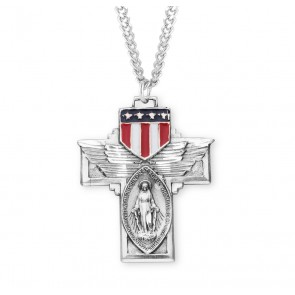 "Military ""Winged"" Sterling Silver Miraculous Medal"