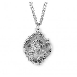 "Sterling Silver Fancy Baroque Style ""Crown of Thorns"" Medal"