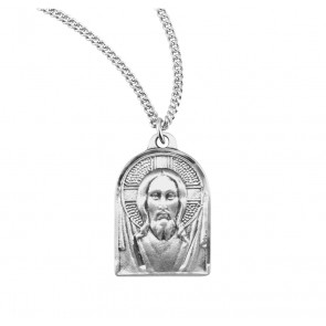 """13/16"""" Sterling Silver Medal of Christ with 18"""" Chain"""