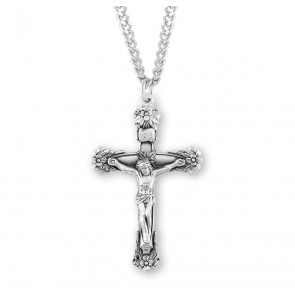 Floral Designed Sterling Silver Crucifix
